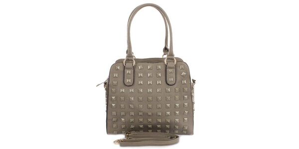 Dámská šedá kabelka s pyramidkami London Fashion