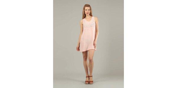 Dámské růžové šaty Jubylee s korálky
