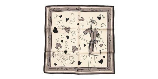 Luxusní hedvábný šátek DKNY v černo-bílé barvě