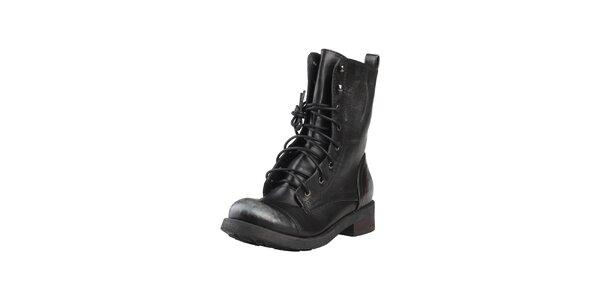 Dámské vysoké černé šněrovací boty Ana Lublin