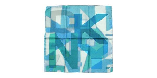 Luxusní hedvábný šátek DKNY v modro-tyrkysových odstínech
