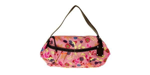 Dámská růžová kabelka Puntotres s potiskem