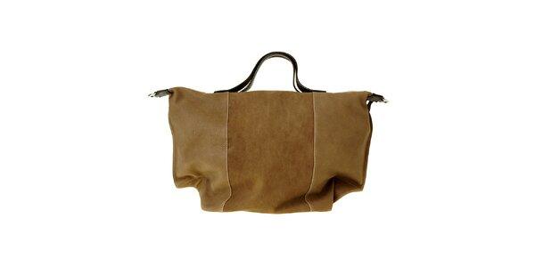 Dámská hnědá kožená kabelka Puntotres