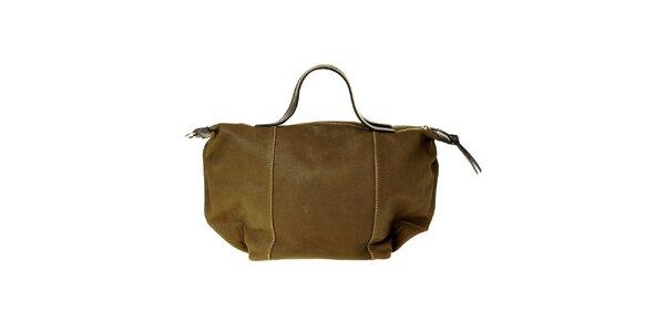 Dámská tmavě zelená kožená kabelka Puntotres