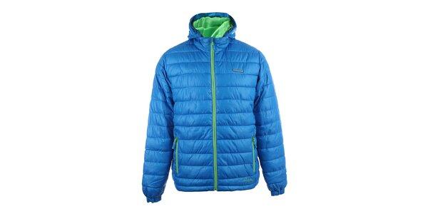 Pánská modrá prošívaná zimní bunda se zelenými zipy Envy