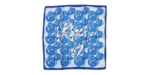 Luxusní hedvábný šátek DKNY v jasně modré barvě