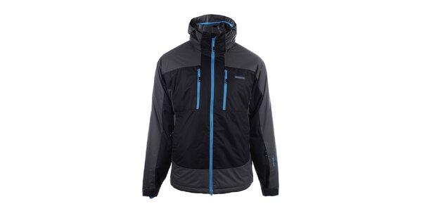 Pánská černo-šedá lyžařská bunda s modrým zipem Envy