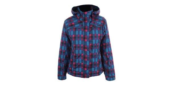 Dámská růžovo-modrá bunda s kapucí Envy