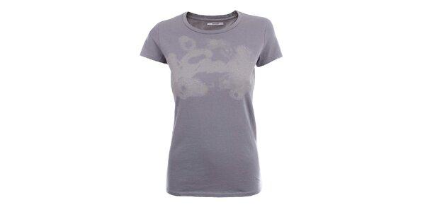Dámské šedé tričko se vzorem a kamínky Gas