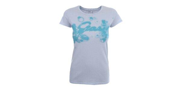 Dámské světle modré tričko se vzorem a kamínky Gas