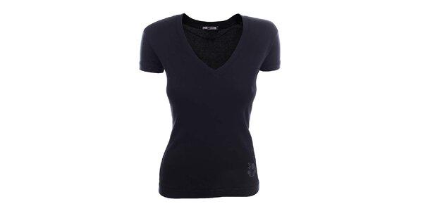 Dámské černé tričko s krátkým rukávem a kytičkami Gas