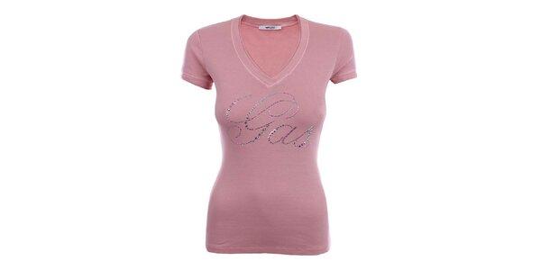 Dámské růžové tričko s dlouhým rukávem a blýskavým nápisem Gas