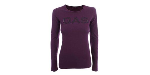 Dámské fialové triko s dlouhým rukávem a nápisem Gas