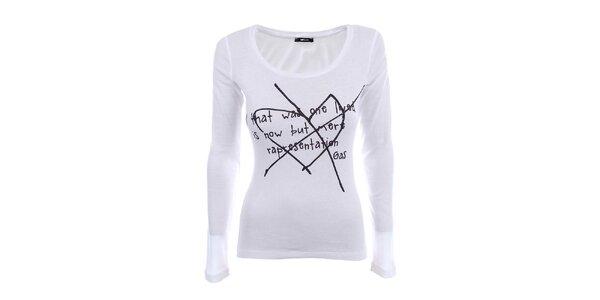 Dámské bílé tričko s dlouhým rukávem a černým potiskem Gas