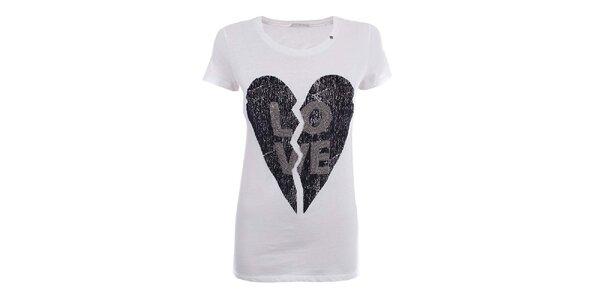Dámské bílé tričko se zlomeným srdcem Gas