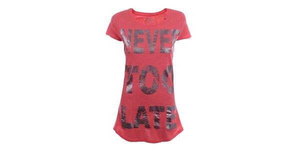 Dámské červené dlouhé tričko s nápisem Gas