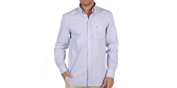 Pánská bílá košile s modrými proužky Nautica