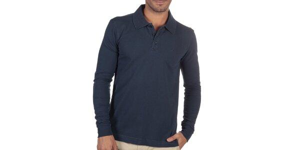 Pánské tmavě modré polo triko s dlouhým rukávem Nautica