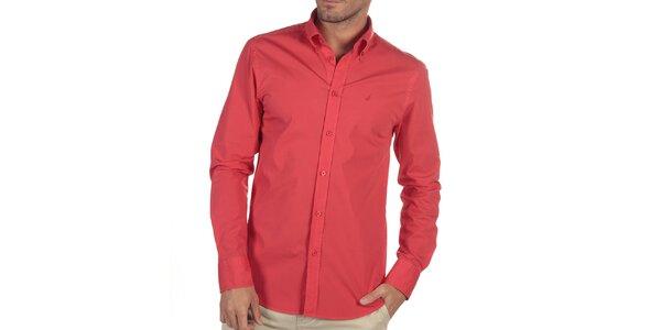 Pánská červená košile s dlouhým rukávem Nautica