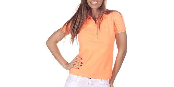 Dámské oranžové polo triko s krátkým rukávem Nautica