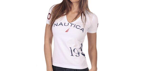 Dámské bílé tričko s véčkovým výstřihem Nautica