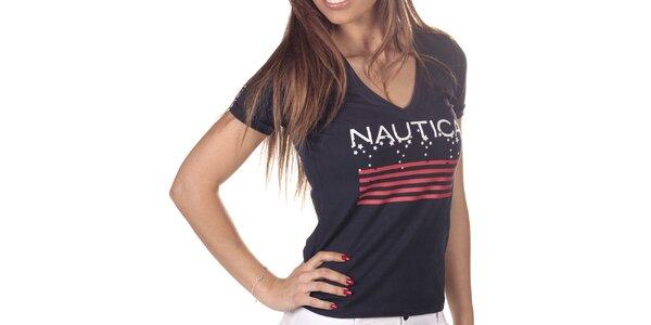 Dámské tmavě modré tričko s potiskem Nautica