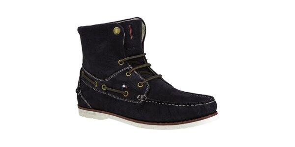 Pánské tmavomodré kotníkové boty s koženými tkaničkami Tommy Hilfiger