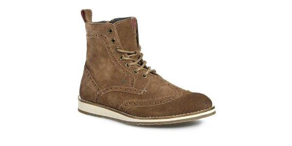 Pánské hnědé kotníčkové boty Tommy Hilfiger