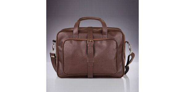 Pánská hnědá taška s vnějšími kapsami Solier