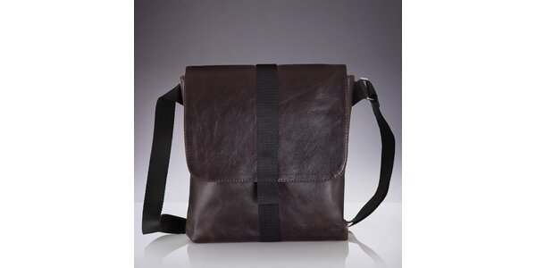 Pánská hnědá kožená crossbody taška Solier