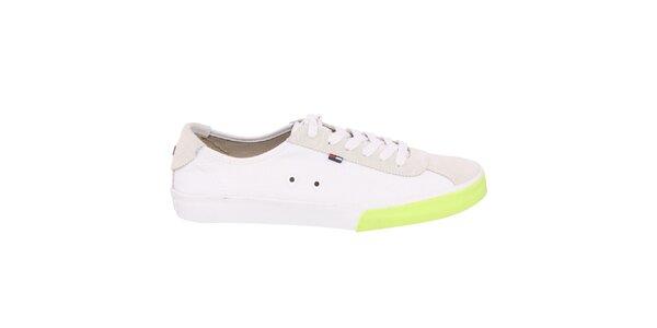 Pánské bílé tenisky s výrazným zeleným proužkem Tommy Hilfiger