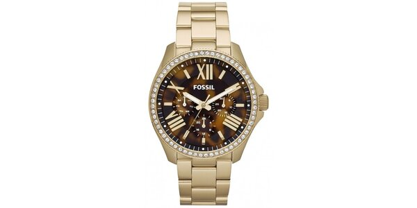 Dámské pozlacené hodinky s kamínky Fossil