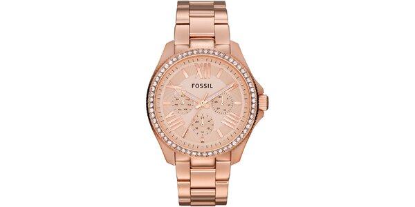 Dámské ocelové hodinky v barvě růžového zlata Fossil
