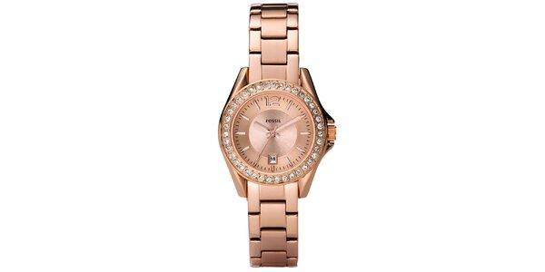 Dámské růžově zlaté hodinky s bílými zirkony Fossil