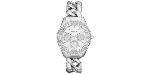 Dámské stříbrné hodinky s řetízkovým řemínkem a zirkony Fossil