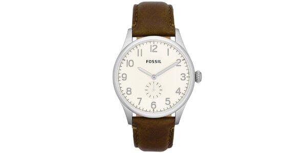 Pánské hodinky s hnědým koženým páskem Fossil