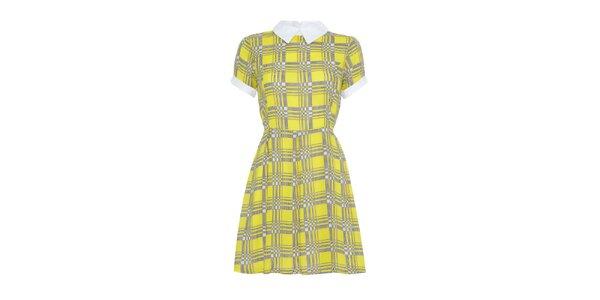 Dámské žluté vzorované šaty s límečkem Iska