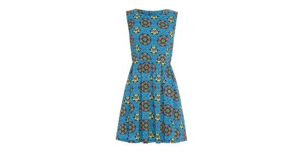 Dámské modré šaty s barevnými vzory Iska