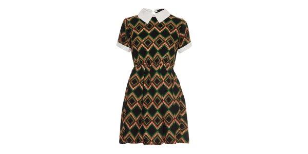 Dámské černé vzorované šaty s límečkem Iska