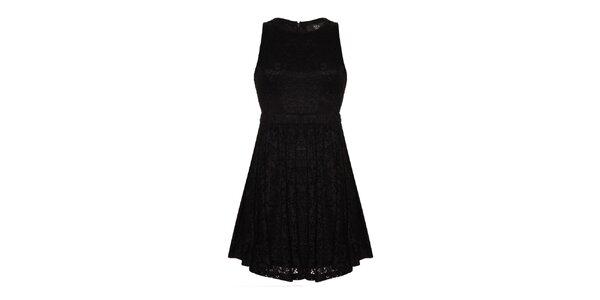 Dámské černé krajkové šaty s průstřihy Iska