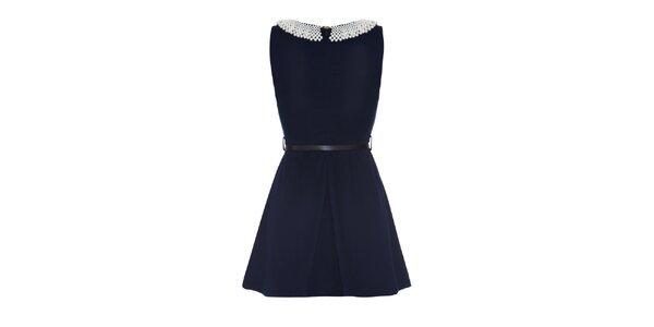 Dámské tmavě modré šaty s perlovým límečkem Iska