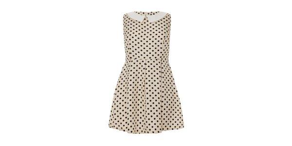 Dámské krémové šaty s puntíky Iska