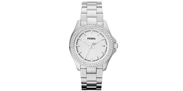 Dámské analogové hodinky s bílými krystalky Fossil