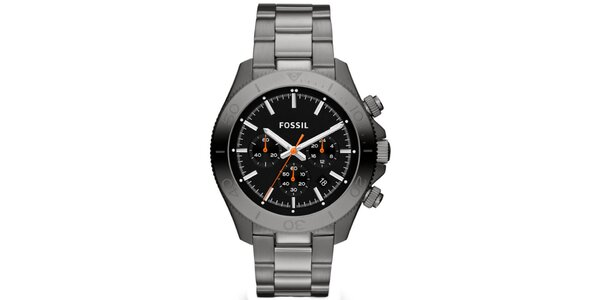 Pánské šedočerné analogové hodinky s chronografem Fossil