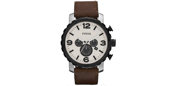 Pánské hodinky s bílým ciferníkem Fossil