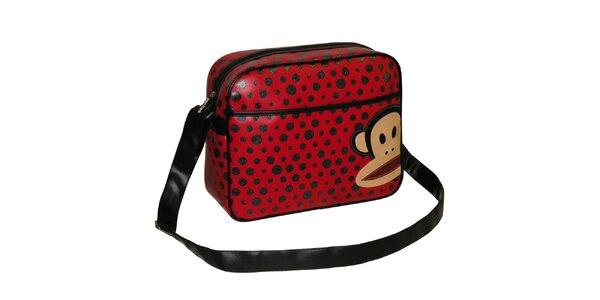Červená taška přes rameno s puntíky Paul Frank