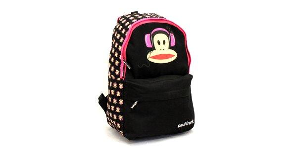 Černý batoh s růžovými prvky Paul Frank
