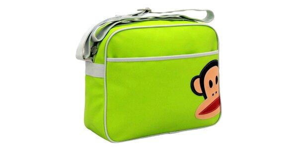 Světle zelená taška s bílým popruhem Paul Frank