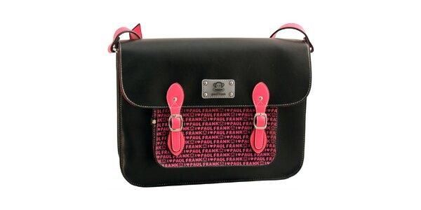 Černá aktovka s růžovým nápisem Paul Frank
