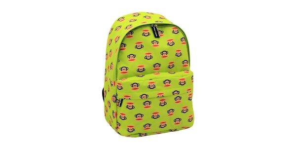 Limetkový batoh s opičáky Paul Frank